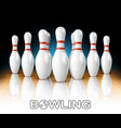realistic bowling white pins in game club vector image