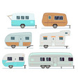 rv camping trailers travel mobile home caravan vector image vector image