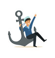 sailor man character in blue uniform sitting on a vector image vector image