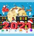 santa claus rides reindeer sleigh vector image vector image
