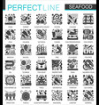 seafood classic black mini concept icons vector image vector image