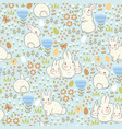 seamless pattern with rabbits and eggs vector image