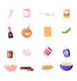 set icons wooden chopsticks soy milk sauce vector image