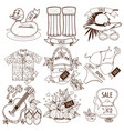 set of outline drawing of summer vacation resort vector image vector image
