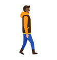 side view of young afro-american man winter jacket vector image