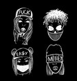 urban street hip hop music girl boy skull rapper vector image vector image