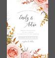 Wedding floral invite card design fall leaves rose