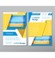 Yellow fold set annual report brochure flyer vector image