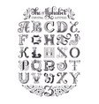 decorative alphabet typographic poster vector image