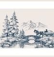 rural idyllic landscape horse cart vector image