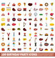 100 birthday party icons set flat style vector image vector image