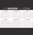 210 modern red black thin line icons set cyber vector image vector image