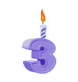 3 years birthday number with festive candle for vector image vector image