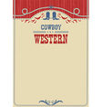 american cowboy poster for text background vector image vector image