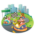 Animals and racing cars vector image vector image