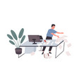 awkward employee standing at office desk with vector image
