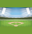 baseball stadium with neon lights arena vector image