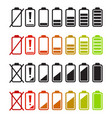 battery icons set charge level indicators vector image vector image