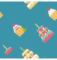 Birthday cake flat pattern vector image