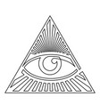 black and white eye providence one line icon vector image