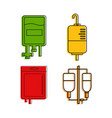 blood transfusion icon set color outline style vector image