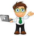 Business Man Unsure With Laptop vector image vector image