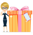 business woman holding a big gift box for vector image vector image