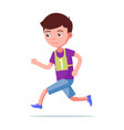 cartoon boy running marathon vector image