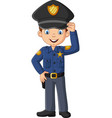 cartoon smiling officer policeman standing vector image vector image