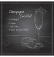 Champagne cocktail on black board vector image vector image