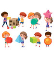 children with math shape vector image