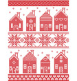 Christmas pattern with style Swedish winter houses vector image vector image