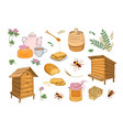 collection of honey production beekeeping vector image vector image