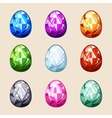 Colorful crystal Easter eggs vector image