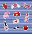 fashion patch badges with lips hearts cute girl vector image vector image