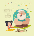 father with daughter practice yoga vector image