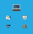 flat icon laptop set of notebook pc computer vector image vector image