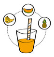 fresh smoothie juice drink fruit banana pineapple vector image vector image