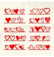 Funny hearts on shelves sketch drawing for your vector image