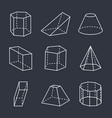 geometric shapes set on black vector image vector image