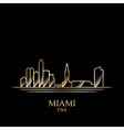 Gold silhouette of Miami on black background vector image vector image