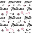 halloween seamless pattern hand drawn vector image