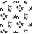 Hand drawn eyes and scandinavian plants vector image