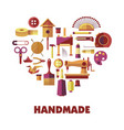 handmade products creation special tools in heart vector image vector image