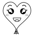 heart love balloon air kawaii character vector image