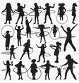 hula hoop silhouettes vector image vector image