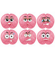 human brain with different facial emotions vector image vector image