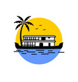 kerala house boat in backwater color design vector image vector image