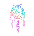magic indian dreamcatcher hand drawn vector image