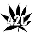 marijuana leaf with 420 vector image